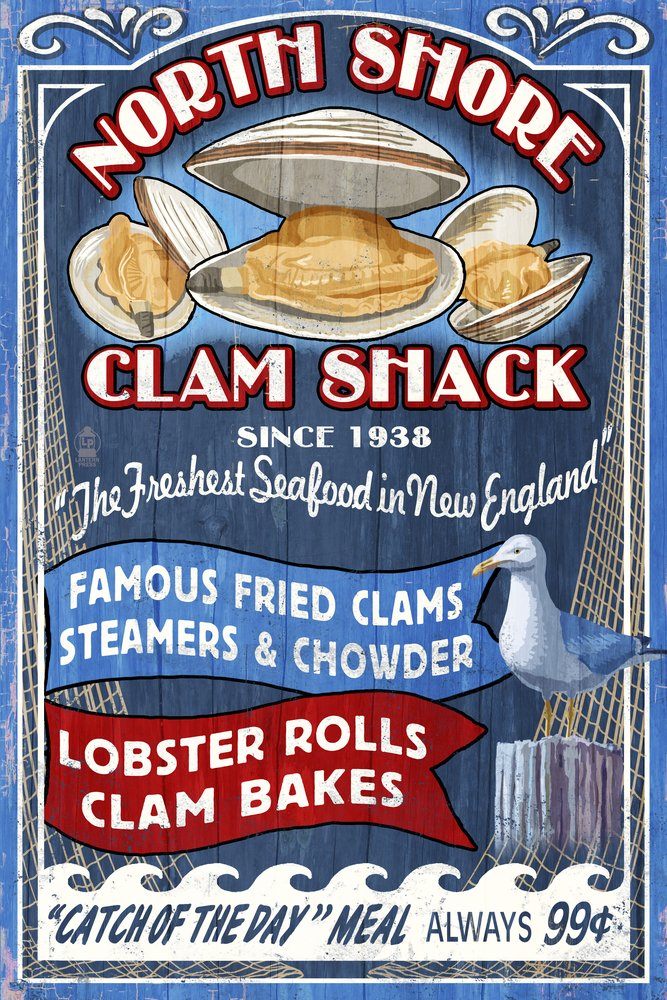 New England - Clam Shack Vintage Sign (16x24 Giclee Gallery Print, Wall Decor Travel Poster)
