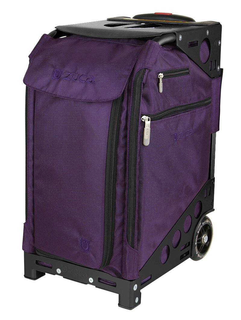 Zuca Purple Bag, Black Frame, 5 Standard Pouches, TSA w/ Purple Travel Cover