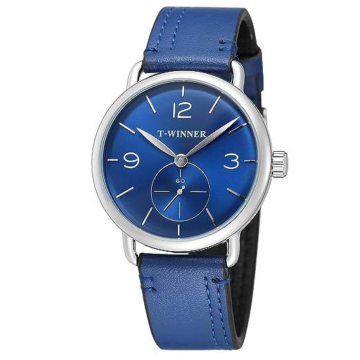 FORSINING - Reloj de Pulsera para Hombre, Correa de Cuero, Esfera analógica, mecánico: Amazon.es: Relojes