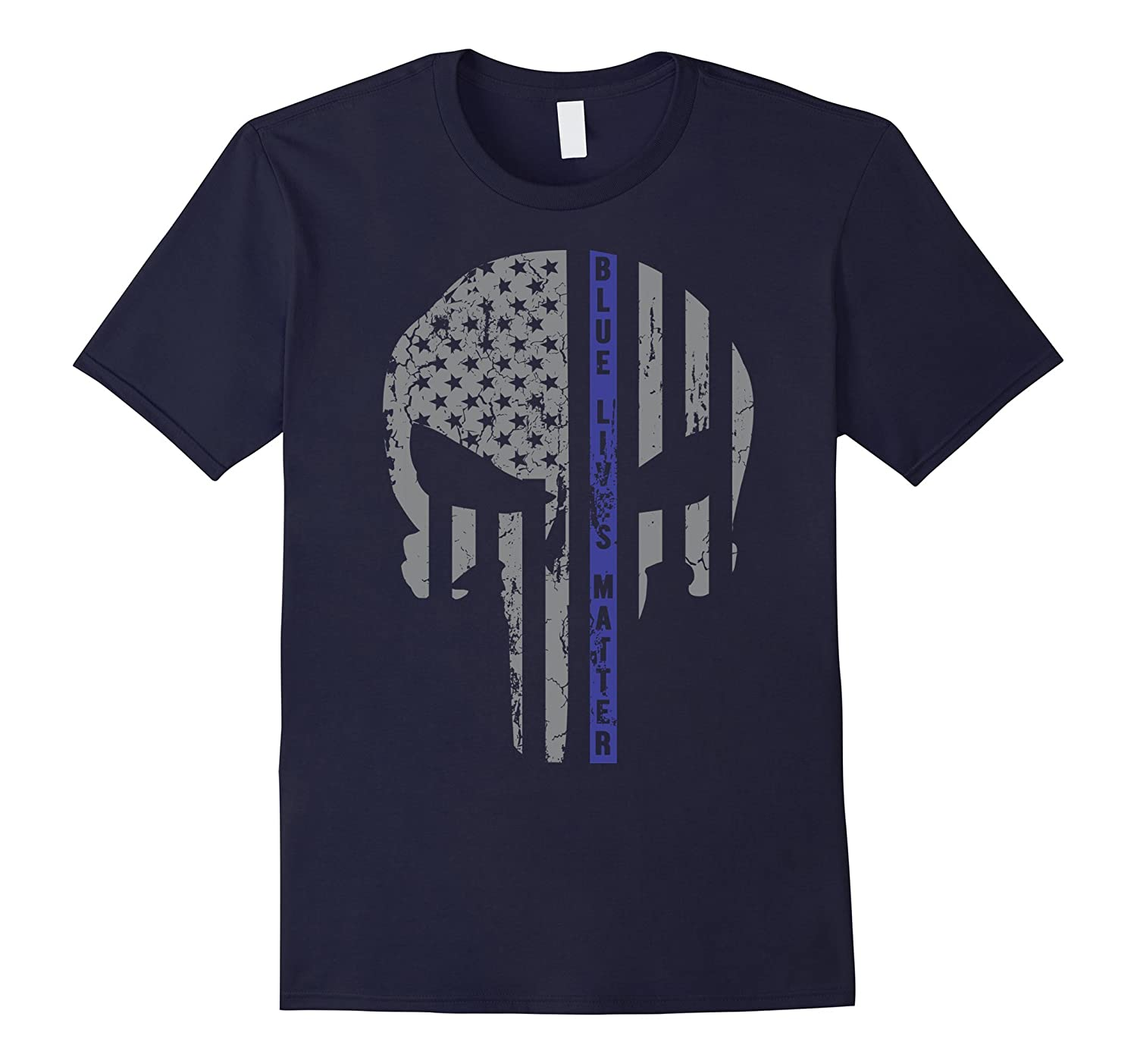 Blue Lives Matter - Thin Blue Line Skull Flag T-Shirt-RT