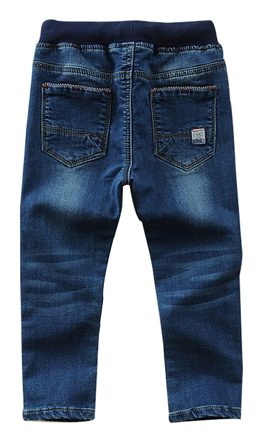 d352aa85 Amazon.com: Toddler Kid Boy Elastic Mid Waist Washed Full Length Straight  Pants Denim Jeans: Clothing
