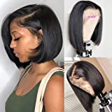 BLY Short Straight Bob Wigs Brazilian Virgin Human Hair Lace Front Wigs Human Hair (8 inch) 13x4 Lace Part 150% Density…