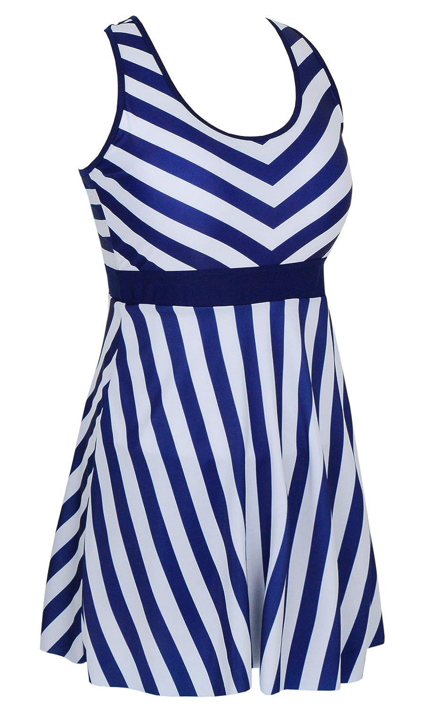 47b4514a57 DANIFY Women's One Piece Swimdress Sailor Striped Bathing Suit Plus Size  Swimwear at Amazon Women's Clothing store: