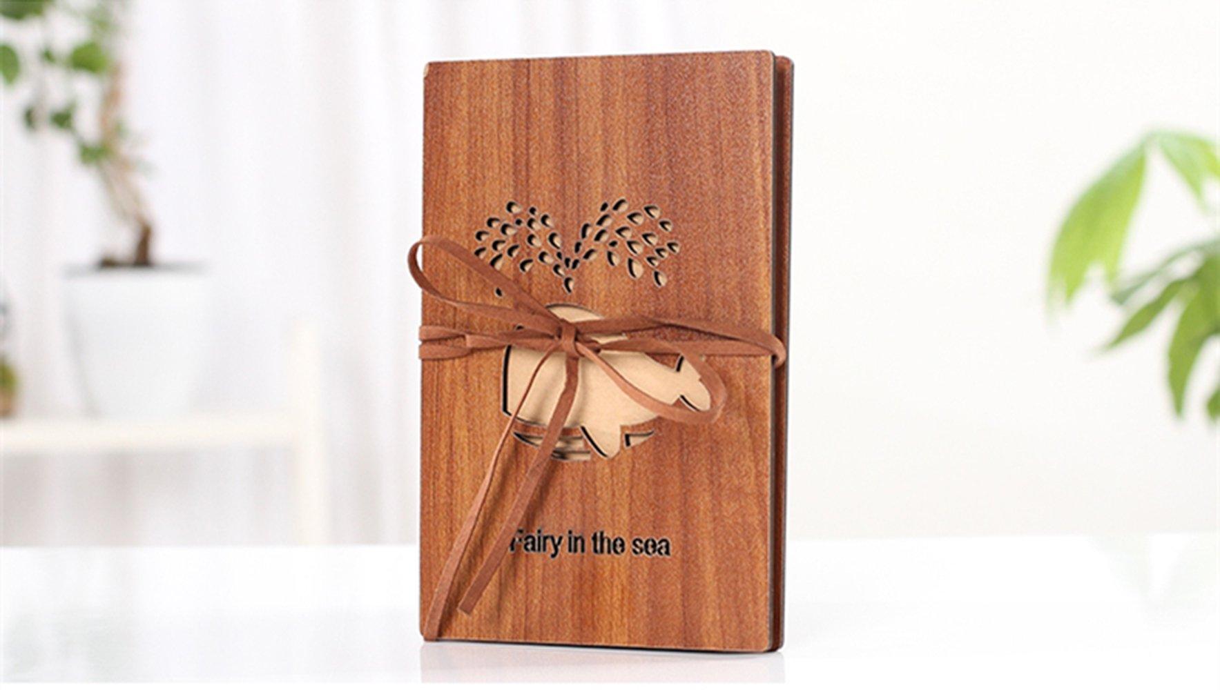 Longpro Hand Made Cute Wooden Cover Kraft Paper Folding Photo Album Folding Photo Album DIY Photo Album Folding Photo Album Personalized Birthday Gift Notebook Wedding Guest Book (Whale)