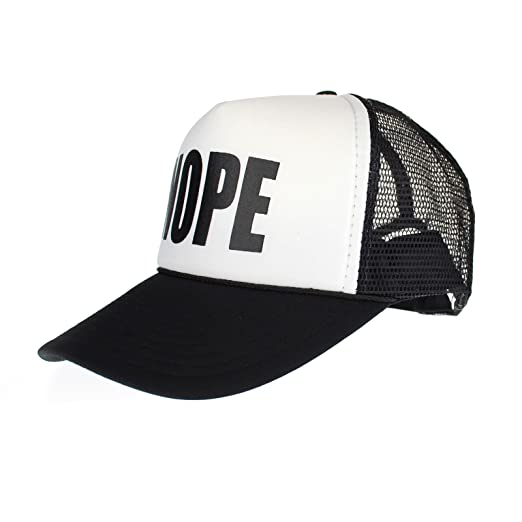 aedd744165a Mens NOPE Ironic Funny Slogan Hipster Snap Back Cap Cotton Mesh Trucker Hat  Black White at Amazon Men s Clothing store
