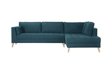 Sofá de ángulo Derecho atalaïa, Azul Stella - Tacto Lin ...