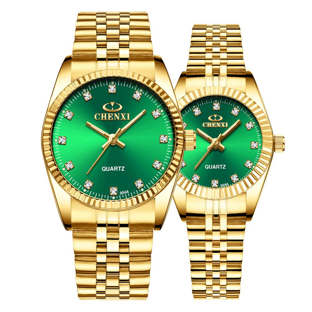 Couple Watches Swiss Brand Golden Watch Men Women Stainless Steel Waterproof Quartz Watch Gift Set (Green)