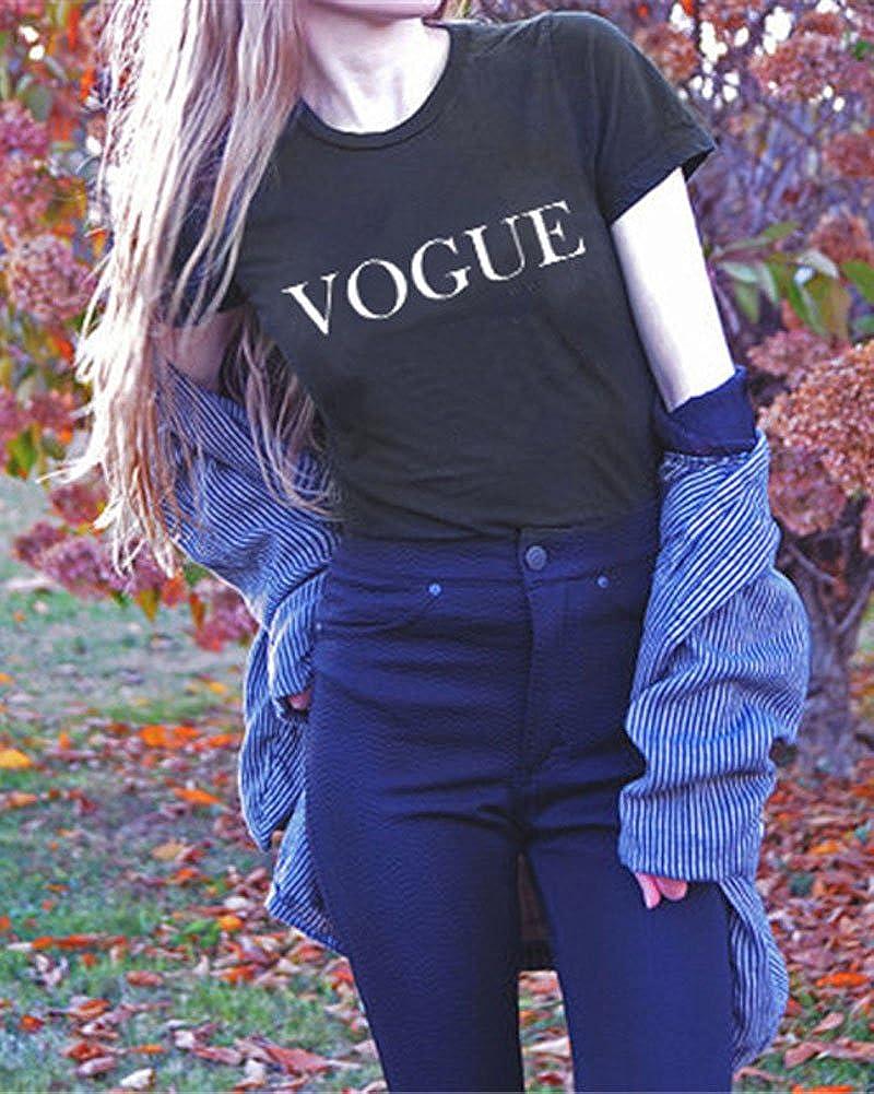 Minetom Mujeres Camisetas Vogue Letras Impresas T Shirt Elegante Manga Corta Túnica Casual Suelto Blusas Camisas Tops: Amazon.es: Ropa y accesorios