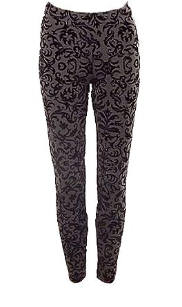 7fe68c76398f48 Textured Baroque / Floral Velvet Tapestry Flock Leggings / Treggings (8)