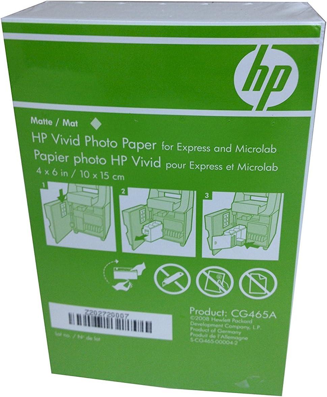 HP 4x6 Matte Vivid Photo Paper 180 Sheets CG465A Borderless