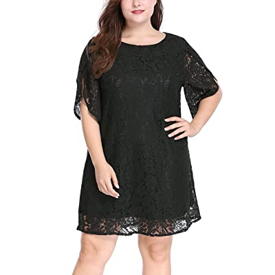 uxcell Women Plus Size Tulip Sleeves Floral Lace Shift Dress at Women's Clothing store