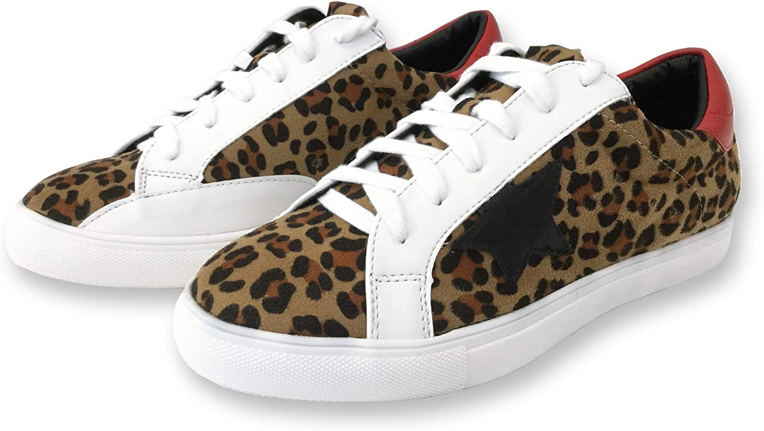 Women Classic Two Tone Star Lace up Fashion Sneakers (8, Leopard)