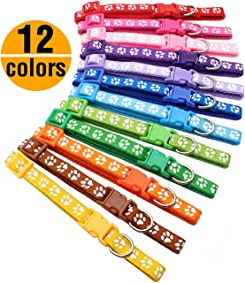 YOY 12 pcs/Set Soft Nylon Puppy Whelping ID Collars - Adjustable Reusable Washable Baby Dog ID Bands Pet Identification for Breeders, Neck 8' - 13'