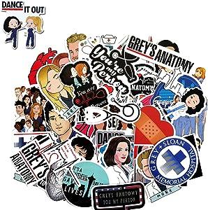 Grey's Anatomy Stickers, Waterproof Vinyl Sticker for Laptop, Hydroflasks (50 Pcs)