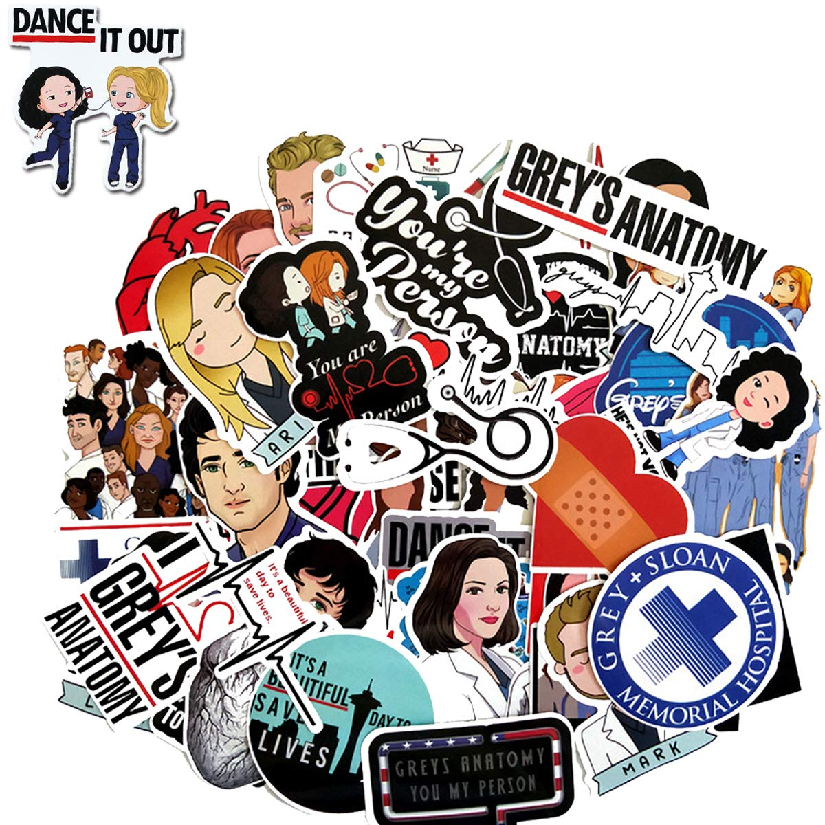 Grey's Anatomy Stickers, TV Show Greys Anatomy Funny Stickers Pack, Waterproof Vinyl Sticker for Laptop, Water Bottles, Hydroflasks, Phone, Computer (50 Pack)