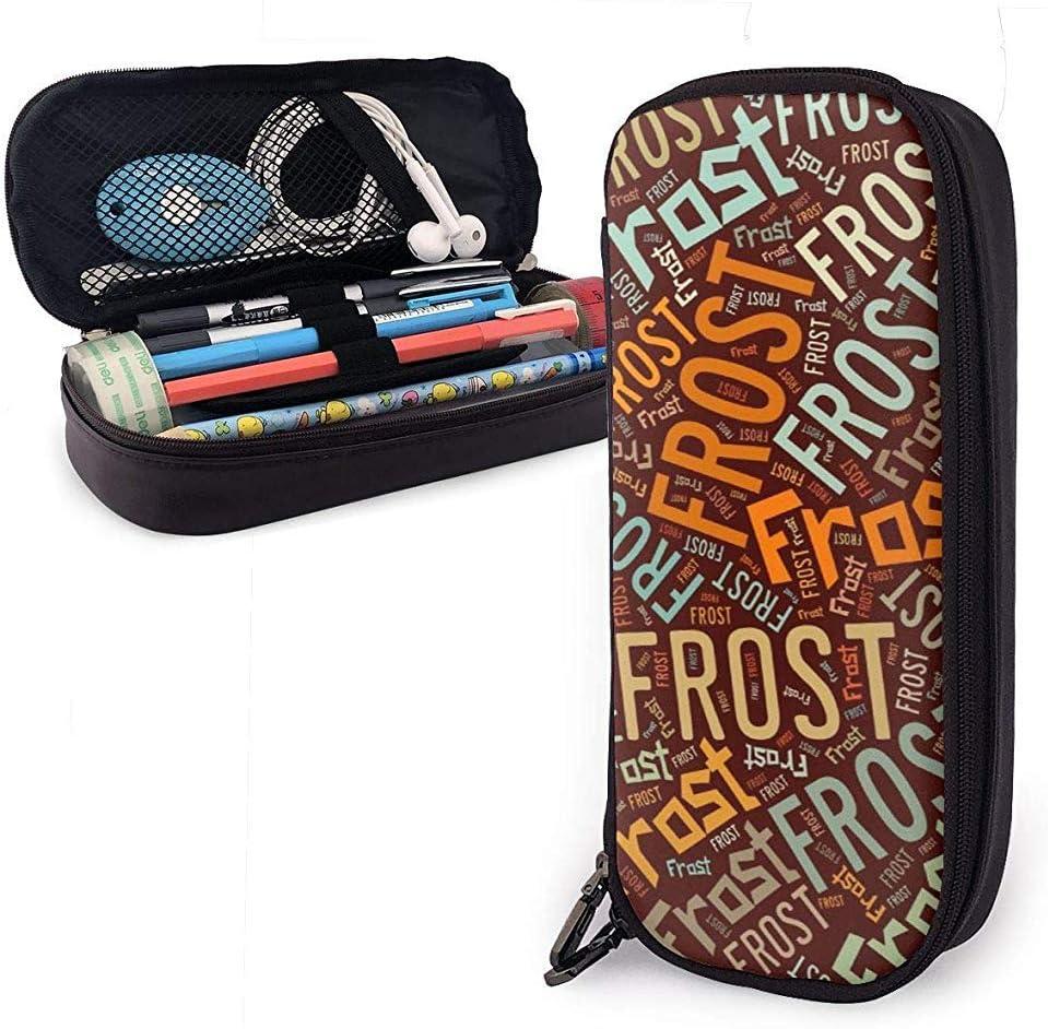 Frost - Estuche de lápices de cuero americano de alta capacidad, soporte para papelería, organizador de caja de bolsa de almacenamiento grande: Amazon.es: Oficina y papelería
