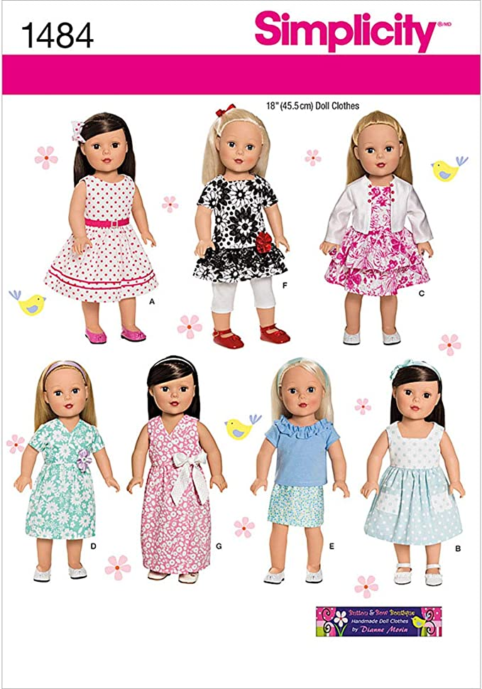 """** Simplicity # 4654 Pattern Many Different Outfits For Your 18/"""" Doll"""