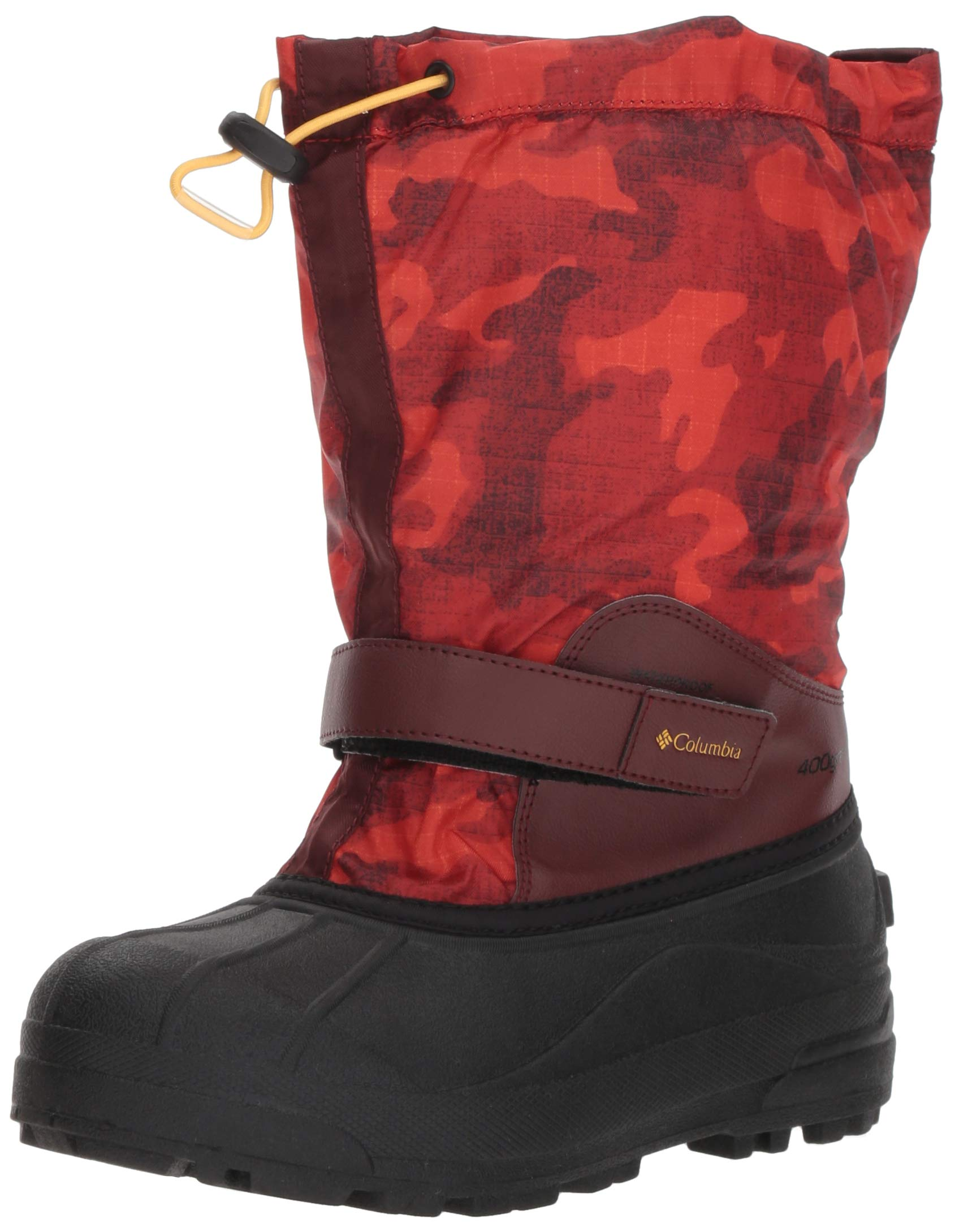 Columbia Boys' Youth Powderbug Forty Print Snow Boot, Madder Brown, Golden Nugget, 3 Regular US Little Kid