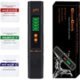 GlowGeek Digital PH Meter / PH Tester / Mini Water Quality Tester for Household Drinking Water, Hydroponics, Aquariums, Swimming Pools, 0.01PH Resolution - Extra PH Calibration Solution Mixture