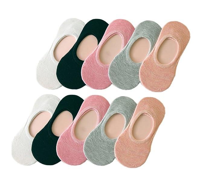 UMIPUBO 10 Pares Calcetines para Mujer Invisibles De Algodón Calcetines Cortos Elástco Con Silicona Antideslizante Anti