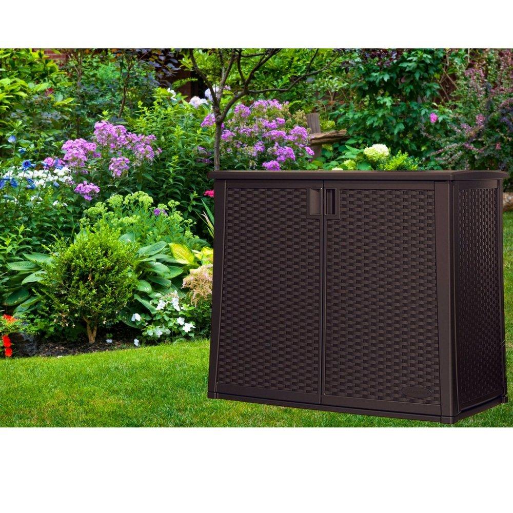 Outdoor Storage Cabinet with Adjustable Shelf Wicker Patio XL Box Container for Gardening Tools Patio Cushions Deck Balcony Garden Backyard 97 gallon Capacity Multi-wall Panels & eBook by BADA shop