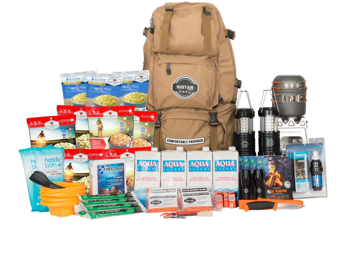Sustain Supply Premium Family Emergency Survival Bag//Kit Be Equipped with 72 Hours of Disaster Preparedness Supplies for 4 People