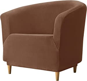 REECOTEX Velvet Club Chair Slipcover, Soft Stretch Tub Chair Cover for Living Room and Bedroom, Washable and Removable Armchair Protector, Furniture Protector for Home Decor,Brown