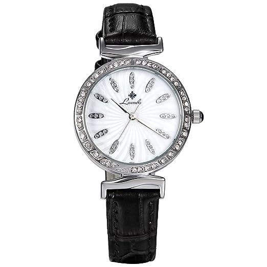 LANCARDO Reloj Mujer Analógico de Seiko Original Cuarzo Japonés Dial de Diamantes Artificiales Brillantes Pulsera Electrónica