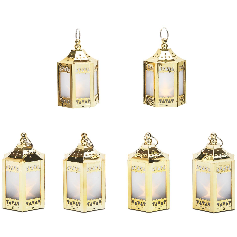 6 gold mini holographic star lanterns - Decorative Lanterns