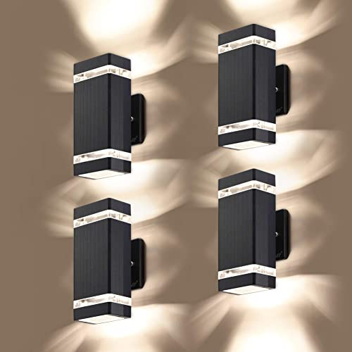 LMP 4 Pack LED Square Up and Down Lights Outdoor Wall Light Body in Aluminum Waterproof Outdoor Wall Lamps 3000k 5W with Certificate ETL