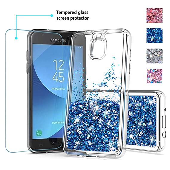 new arrivals 81e5d 473dc for Galaxy J3 Achieve Glitter case,Samsung J3 Star Phone case,amp Prime 3  Phone case,DDTKZC Tempered Glass Protector and Sparkle The Liquid TPU is ...