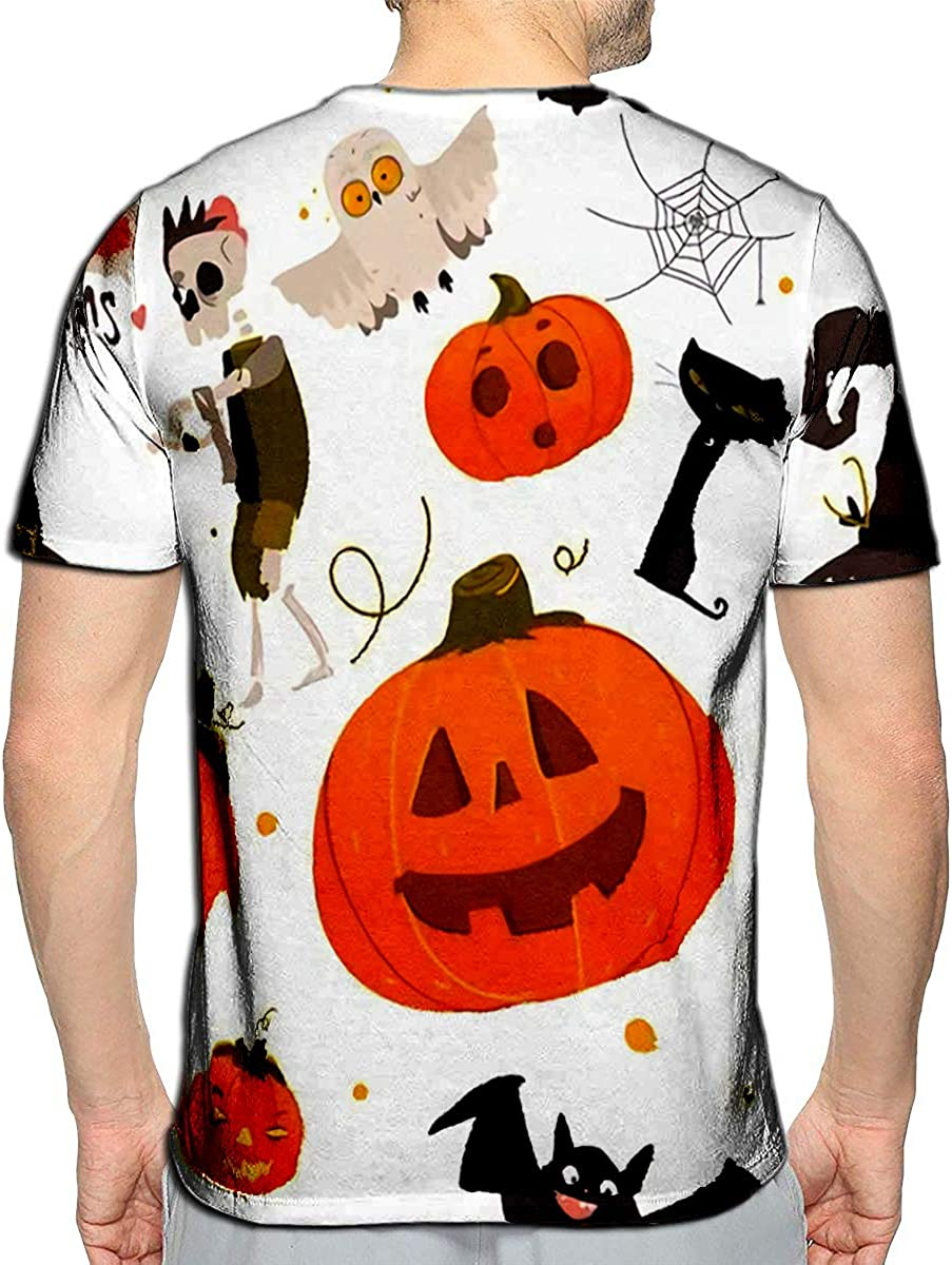 3D Printed T-Shirts Halloween Objects Pumpkin Zombie Bat Cat Spider Cauldron Poi