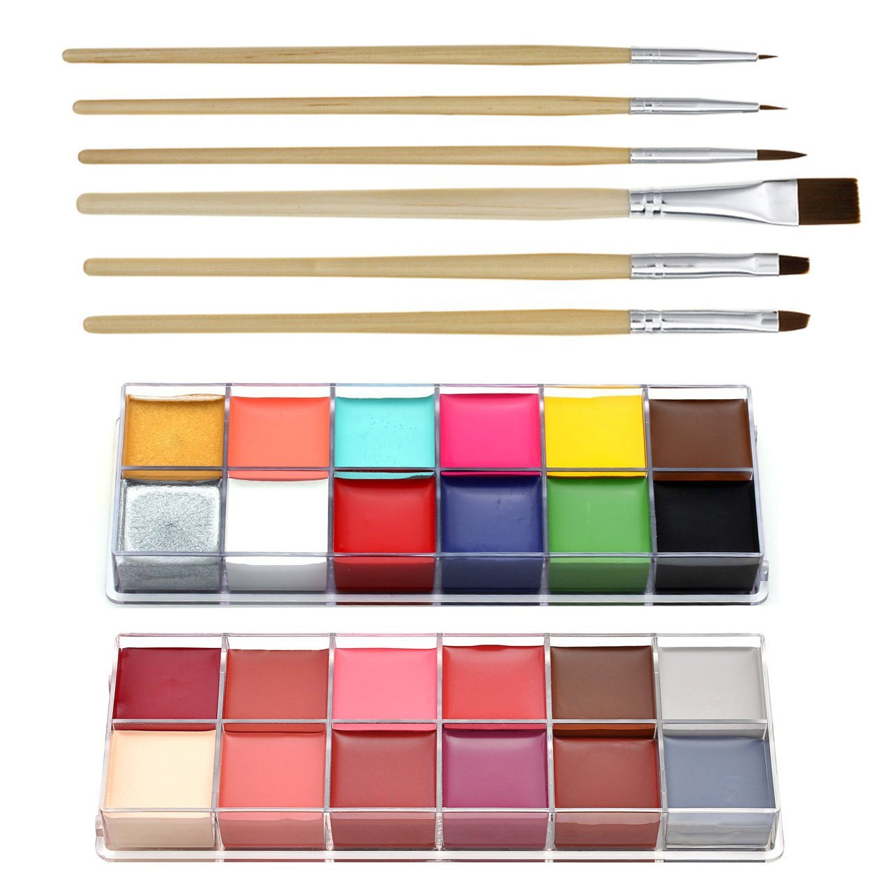 CCbeauty Professional Face Paint Oil 24 Colors Halloween Body Art Party Fancy Make Up with 6 Wooden Brushes by CCbeauty