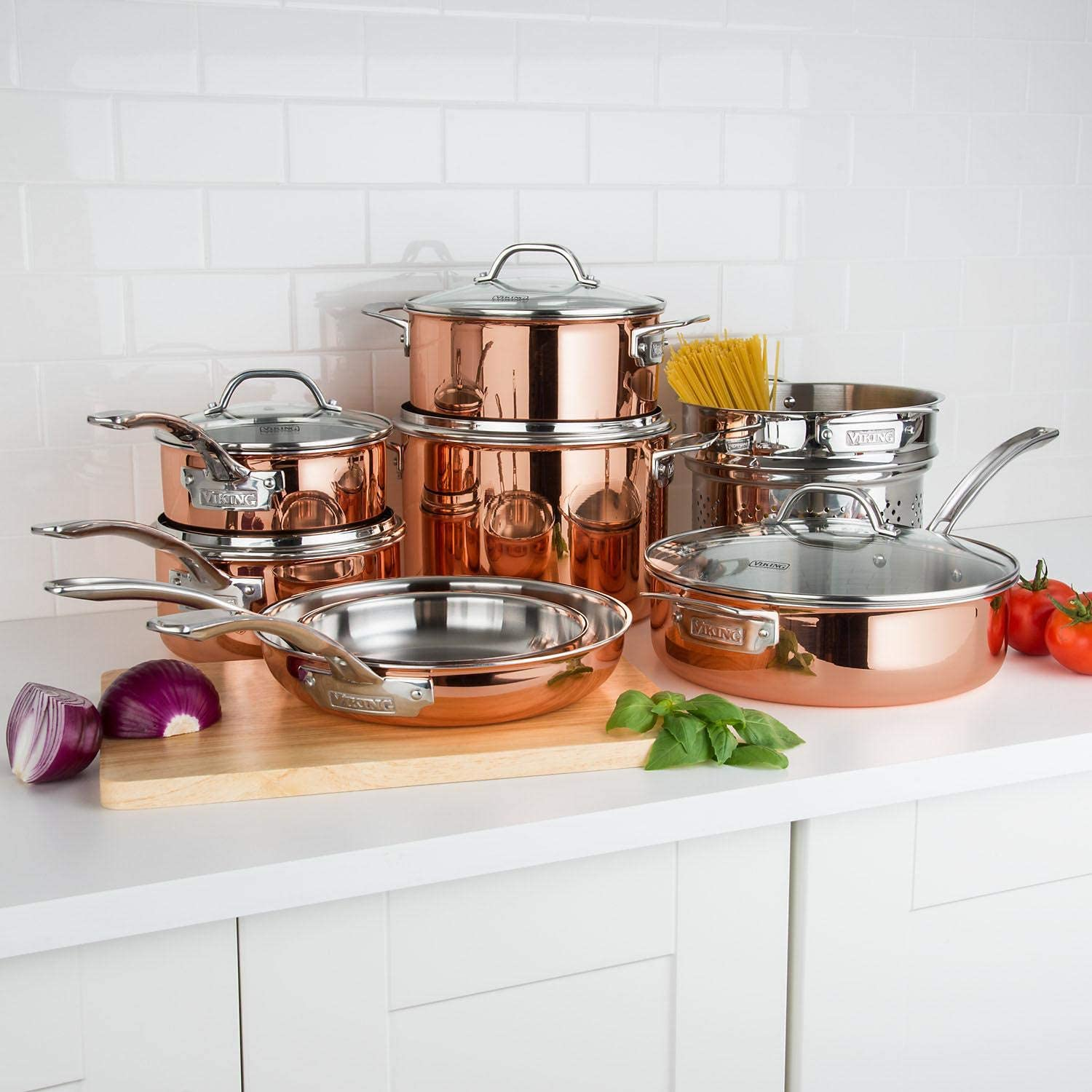 Amazon Com 13 Piece Tri Ply Copper Cookware Set By Viking Kitchen Dining