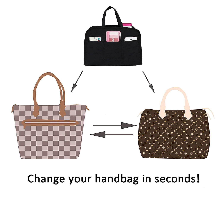 APSOONSELL Purse Handbag Organizer Zipper Closure Tote Organiser Bag Insert with Handle
