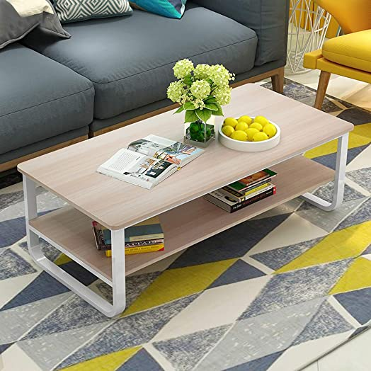 Retrofish Rectangle Coffee Table Cocktail Table Sofa Tables with Storage Shelf for Living Room Reception Room Home,Office,Wooden Accent Furniture Living Room Center Table,US Shipping Yellow