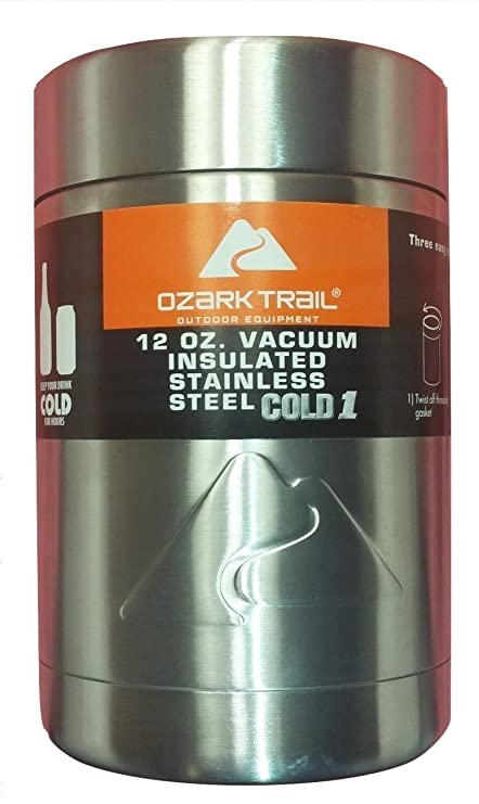 d99cc10c478 Image Unavailable. Image not available for. Color: Ozark Trail 12 oz Double  Wall Vacuum Insulated Stainless Steel Cold 1 Can Cooler ...