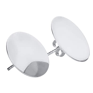 e91485415ad24 Ah! Jewellery® High Quality Large 16mm Solid Disc Stud Earrings. Finished  in Solid Sterling Silver, Stamped 925. Very Fashionable And Trendy, New ...