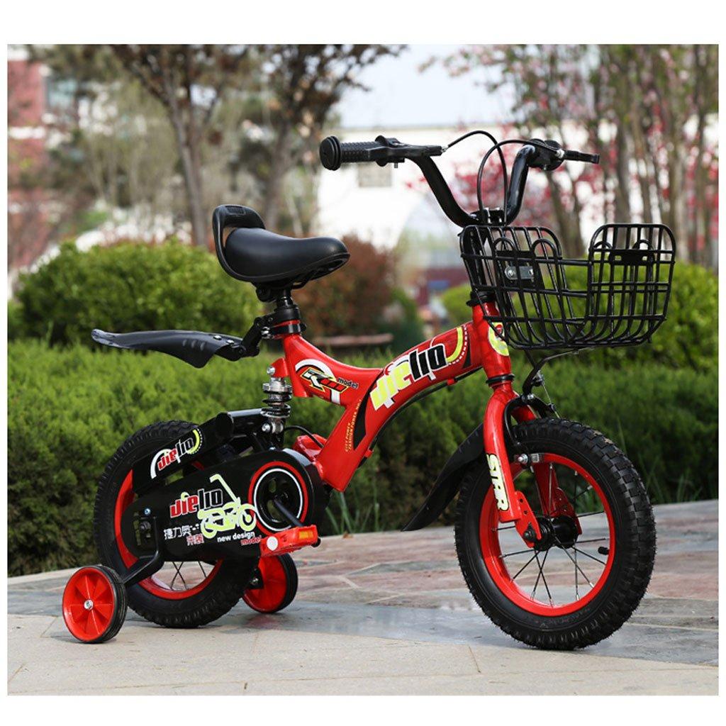 Xiaoping Bicicletas para Niños Bicicletas de 14/16/18 Pulgadas 3-7/4-8/6-11Años Bicicletas para Niños de Edad Carburantes de Acero con Alto Contenido de Carbono de Color Rojo (Size : 16 Inches)