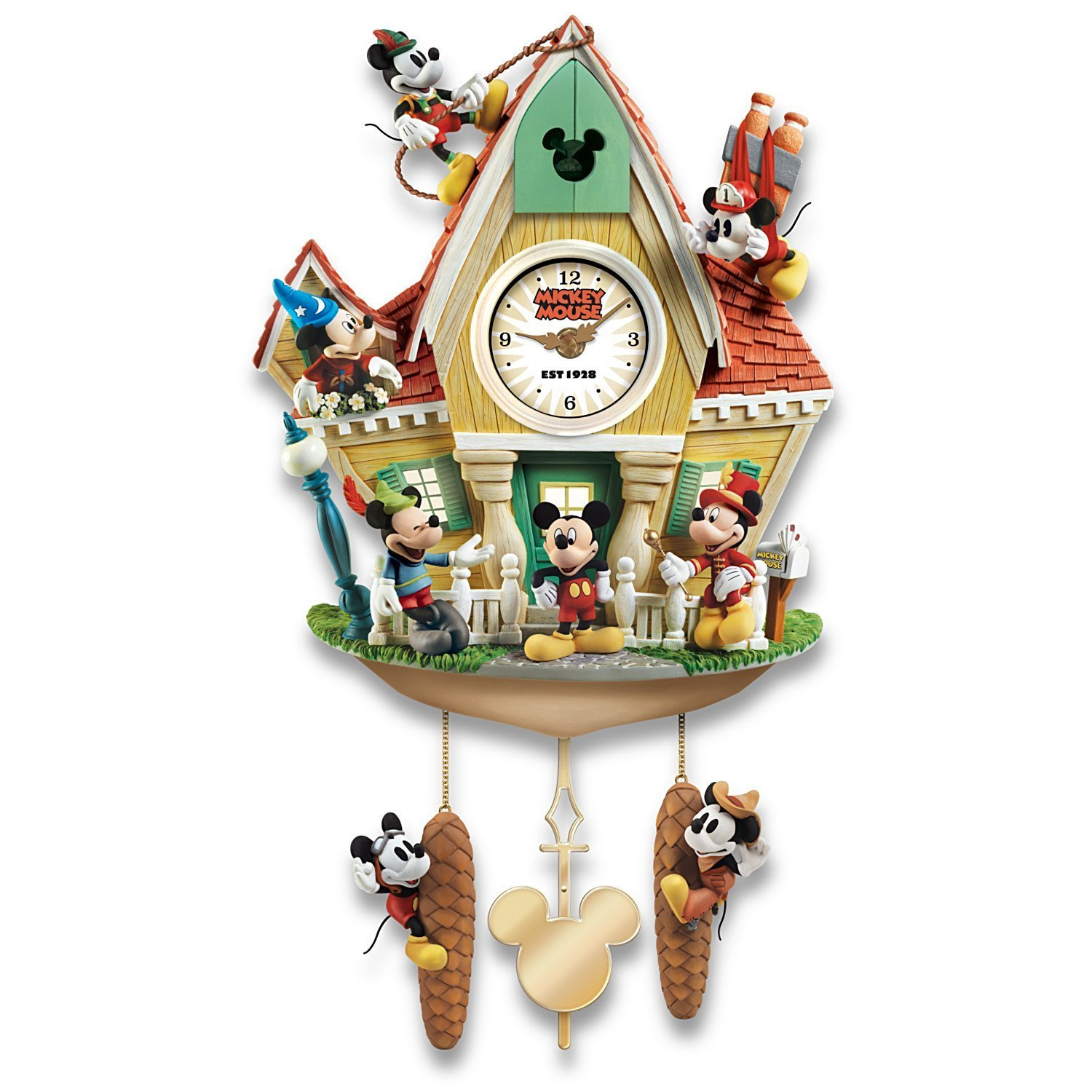 Disney Mickey Mouse Through The Years Cuckoo Clock With Lights Music And Motion by The Bradford Exchange by Bradford Exchange