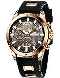 MEGALITH Reloj Hombre Cronografo Reloj Grande Hombre Deportivo Analógico Reloj de Pulsera de Goma Impermeable Luminosos