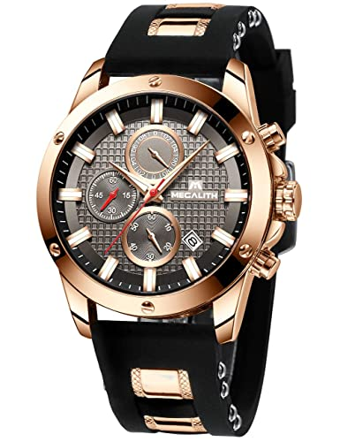 a06764d229ab7d Mens Watches Men Chronograph Waterproof Sports Designer Rose Gold Large  Face Luminous Date Wrist Watch Luxury