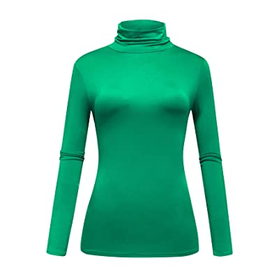 Womens Long Sleeve Turtleneck T-Shirt Basic Stretch Layer Comfy High Neck Top OThread /& Co