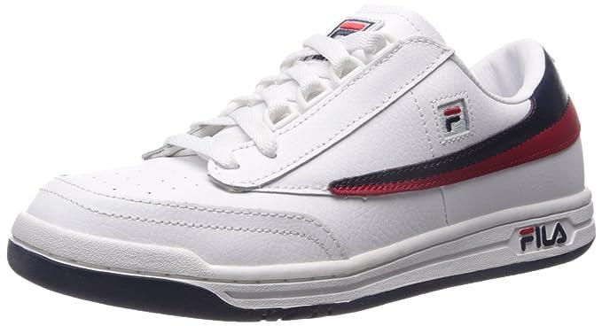 Fila original zapatilla de deporte clásico Tenis, Blanco / Azul Marino / Rojo, 44: Amazon.es: Zapatos y complementos