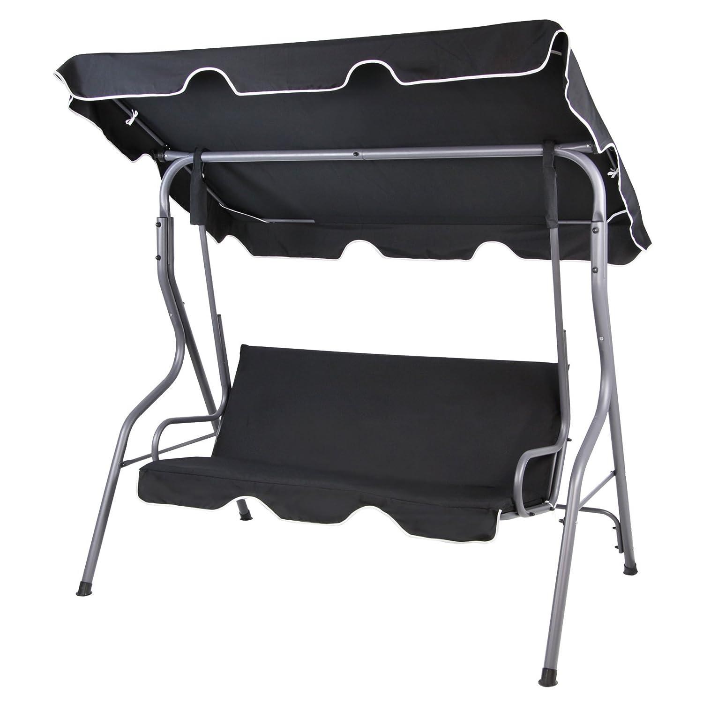 BB Sport 3-Sitzer Hollywoodschaukel mit abnehmbarem und neigbarem Sonnendach Gartenschaukel für 3 Personen Schutzhülle optional, Farbe:Titanschwarz