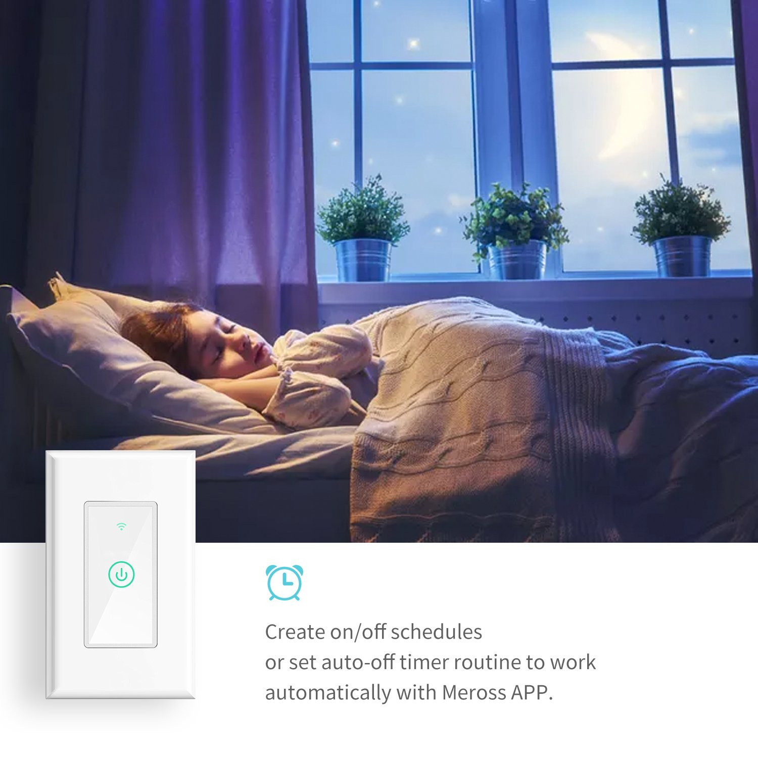 Remote Control with Timing Function No Hub Needed Alexa and Google Assistant Supported meross Smart Wi-Fi Light Switch White MSS510 1 Pack WiFi 1pack Fit for US//CA Wall