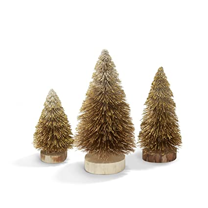 lamplust bottle brush christmas trees gold sisal table top decoration set of 3