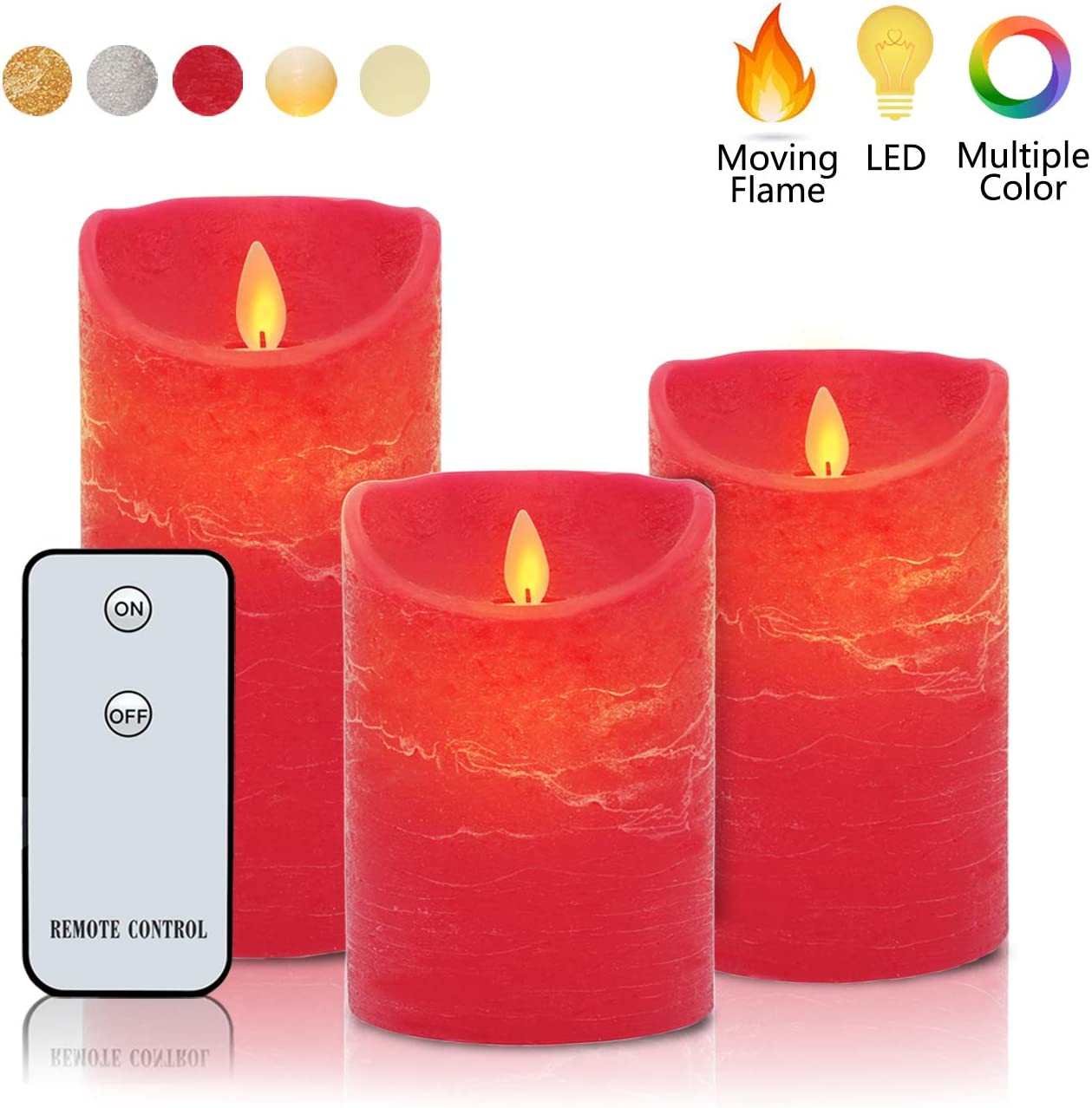 CREAM RED  FLICKERING FLAME CANDLE LIGHT REAL WAX REMOTE CONTROL BATTERY OPERA