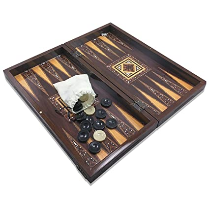 The 19 Antique Mosaic Backgammon Board Game Set