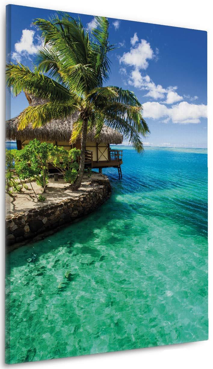 Wallario Leinwandbild Karibisches Meer – Einsame Hütte Unter Palmen - 60 x 90 cm in Premium-Qualität  Brillante lichtechte Farben, Hochauflösend, verzugsfrei